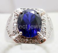Wholesale Sapphire ring Men ring Women ring Perfect Jewelry Natural and real sapphire silver plated k white gold ring DH