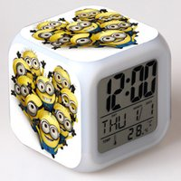 plastic table clock - DHL Shipping Despicable Me LED Colors Change Lighting Digital Alarm Clock Minions Thermometer Christmas Glowing LED Table Clocks