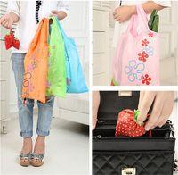 strawberry folding shopping bag - Foldable Strawberry Shopping Bag Eco friendly Reusable Portable Tote Shoulder Bag Non woven Fabrics Handbag Folding Carrier Bag Multicolor