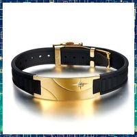 balance rubber bracelet - TB90D008 Noproblem Super man BALANCE Titanium casual luxulry power band gold health Rubber magnetic sports Bracelets silicone