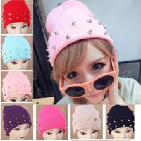 Wholesale 6pcs Fashion Knitted Neon Women Beanie Girls Autumn Casual Cap Studded Rivets Warm Winter Hats Unisex Colors Free Ship