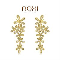 Wholesale FG ROXI Christmas Delicate Large Zircon Earrings Gift Girlfriend Handmade Fashionable Yellow Gold Plated Flower Jacket Earrings