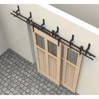 barns designs - 6 FT Arrow Design bypass Rustic sliding barn wood closet door Interior sliding Antique door hardware track kit
