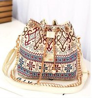 Wholesale New Hotsale Models Women Shoulder Bag Chain Bucket Bag Messenger Bag Wind Flower Women s Handbag Canvas Bag BB001 ldx