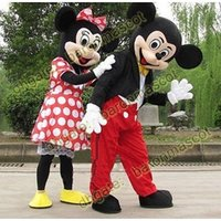 Wholesale Couple Mickey And Minnie Mouse Mascot Costume Cartoon Suit Adult Size Clothing Party Fancy Dress Brand New Costumes