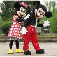 Mickey y Minnie Mouse traje de la mascota de la historieta tamaño del juego de vestir adulto de fiesta de disfraces traje nuevo 2pcs