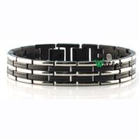 Cheap 2015 4 in 1 green tourmaline infrared magnetic germanium power bracelet black stainless steel bracelet for men