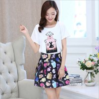 perfume set - 2015 Summer Women High Grade Elegant Perfume Bottle Printed Casual Outfit Korean Style Fashion Set Short Sleeve T shirt And High Waist Skirt