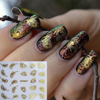 Wholesale 1 Sheet D Fashion Gold Peacock Feather Nail Art Stickers Nail Art Decals Decoration Tools XF6057