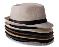 Wholesale Vogue Men Women Straw Hats Soft Fedora Panama Hats Outdoor Stingy Brim Caps Colors Choose