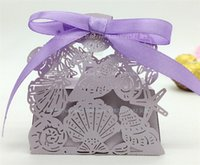 beach house colors - 32 Colors Sandy Beach Wedding Favor Box Laser Cut Paper Candy Gift Boxes Sweet House Decoration Sea Shells Star Conch Chocolate Case WE410