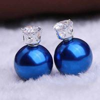 30 Pair / Lot Mode féminine Stud Couronne impériale Boucle d'oreille Cristal Perle Zircon Haute qualité Bijoux Qualités Boucles d'oreille élégante douce
