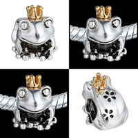 Metals european charm bracelet - 2015 Silver Frog Prince Charm Beads K Golden Crown For Pandora Bracelets Charms DIY European Jewelry
