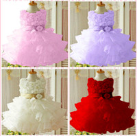 beads design for dress - Cute Princess Baby Mini dresses Sash Beads Design Korean Syle Flower girls gown for children kids White Pink Red Colour