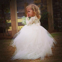 Cheap 2015 Ball Gown High Collar Long Sleeves Tulle Lace White Baby Little Tutu Flower Girls Dresses For Wedding