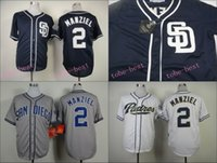 johnny manziel jerseys al por mayor-San Diego Padres Jersey 2 Johnny Manziel Jerseys Blanco Gris Azul Cool Base cosido Auténtico Jersey Baseball Jersey Bordado Logo