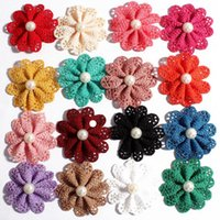 Wholesale 5 CM Colors Fabric Flowers Kid s Head Flower with White ABS Pearl for Children Hair Accessories DIY Flowers Hair Supplie