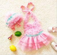 Wholesale Summer Baby Girls One piece Hat Swimwear Tulle Dress Children Girl Beach Wear Kids Swimming Suit K6485