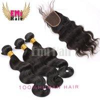 Wholesale Brazilian Virgin Hair with Closure Human Hair Products with Closure Human Hair Bundle Brazilian Body Wave with Closure