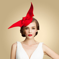 Wholesale New Designer Paris Style Bridal Hats Wool High Quality Bow Red Occasion Hats Kate Middleton Hat Spring Prom Hats
