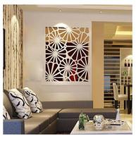 abstract landscape artist - 2014 new arrive hot artist cut out flower oblong wall decorative sticker D crystal mirror wall sticker