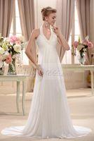 halter top wedding dress - Plain Empire Halter Top Vestido de Novia Bridal Gowns Beach Wedding Dresses Court Train Wedding Dress w736