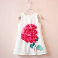 beautiful dress - 2016 Girls Summer New Vest Rosed Flower A line Dresses Children Best Sale Sleeves Beautiful D Flower Dresses Kids Lovely Casual Dresses