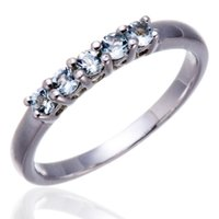 Wholesale FIVE STONE NATURAL AQUAMARINE STERLING SILVER BAND TAIL RING ENGAGEMENT BRIDAL JEWELRY