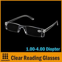 Wholesale 2015 New Fashion White Reading Glasses Clear Rimless Eyeglasses Presbyopia Diopter Strength
