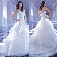 demetrios wedding dress - A Line Sweetheart Lace Tulle Applique Beads Flower Sleeveless Chapel Train Bandage Luxury Wedding Dress Wedding Gown Demetrios
