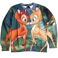 Wholesale new cute cartoon bambi deer kiss print sweatshirt women men D animal couple clothes