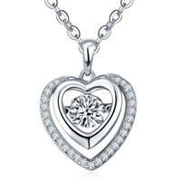 Wholesale Dancing Diamond Sterling Silver Heart Necklaces Pendants for Women Fashion Fine Jewelry locket Necklaces Jewelry DP74610C