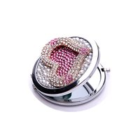 Wholesale 2016 New Design Handmade Crystal Trendy Heart Folding Round Pocket Compact Double Side Cosmetic Makeup Mirror