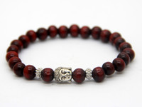 beaded promotion gift - Promotion pieces Red Wood Bracelet Prayer Mala Beads Natural Wood Buddha Head Beads Bracelets Jewelry