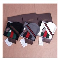 Wholesale Men and women hat scarf hit color two pieces are warm cold