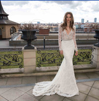 Cheap Berta wedding Gowns Spring Long Sleeve Lace Mermaid Wedding Dresses 2016 Sheer Beaded Bridal Dress Open Back Vestidos De Noiva