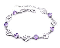 Wholesale Hot Sell Amazing Fashion Jewelry Sterling Silver Double Purple Heart For Women Crystal Bracelet