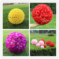Wholesale Whosale Party Supplies CM quot Artificial Encryption Rose Silk Flower Kissing Balls Hanging Ball Christmas Ornaments Wedding Decorations