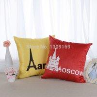 atacado curto luxuoso tecido de sofá carro, capa de almofada jogar fronha de decoração de casa de frete Grátis da cidade de LONDRES, MOSCOU, PARIS, ROMA