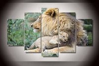 african lion posters - 5Pcs With Framed Printed African lion mother Painting children s room decor print poster picture canvas hand painted canvas oil paintings