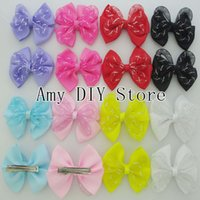 apparel hair accessories - Boutique ribbon bowknot bows Satin Ribbon Double Bows WITH clips for girls Apparel ornament accessories HJ035 cm