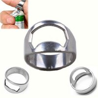 glass soda bottle - Hot Sale Convenient Stainless Steel Wall Mount Bar Beer Soda Glass Cap Bottle Opener Kitchen Tool Finger Ring Bottle Opener