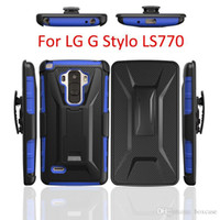 Wholesale 200pcs Dual Layer Heavy Duty Rugged Belt Clip Defender Holster Case For LG G Stylo Ls770 Cover Skin With Stand Shockproof