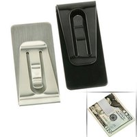 Wholesale 1 New Hot Sell Classtic Stainless Steel Black Silver Color Slim Pocket Cash Purse Money Clip Wallet Holder GM123