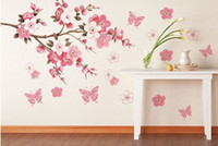 Wholesale Removable PVC Modern Peach blossom Butterfly Home Decor Art Wedding Room Girls Room Wall Stickers Decal Poster TY506