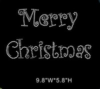 heat transfers - Merry Christmas silver crystal Rhinestone heat Transfer motif design hot fix