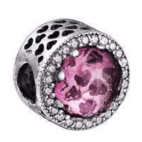al por mayor esterlina encanto de plata de color rosa-Comercio al por mayor Pink Heart Crystal Clear Zirconia Charm 925 encantos de plata de ley europea cabida los granos de Pandora de la serpiente de la pulsera de cadena de la joyería DIY