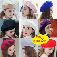 Wholesale Qiu dong season beret British painter cap restoring ancient ways Pure wool hat Wool beret Multicolor optional