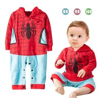 baby spiders for sale - Hot Sale Baby Boys Costume Autumn Spider Man Newborn Jumpsuit Hooded Long Sleeve Romper For Toddler T1388