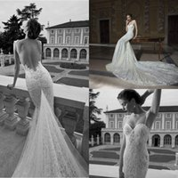 Cheap 2015 Spring Sexy Lace Tulle Wedding Dresses Mermaid Spaghetti Straps Sweetheart Chapel Train Open Back Garden Berta Wedding Dresses